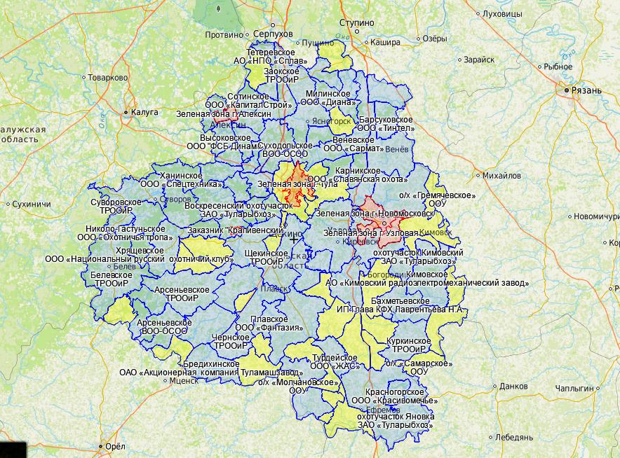 Создана онлайн-карта охотничьих угодий Тульской области