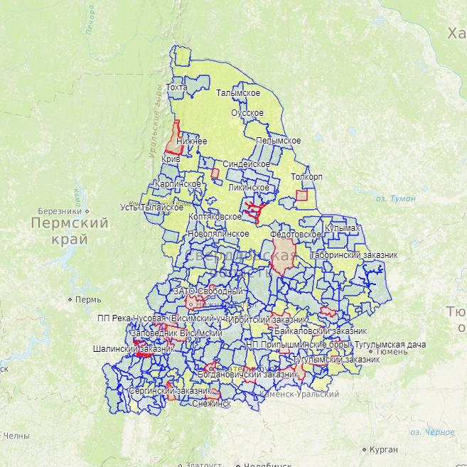 Добавлена карта охотничьих угодий Свердловской области