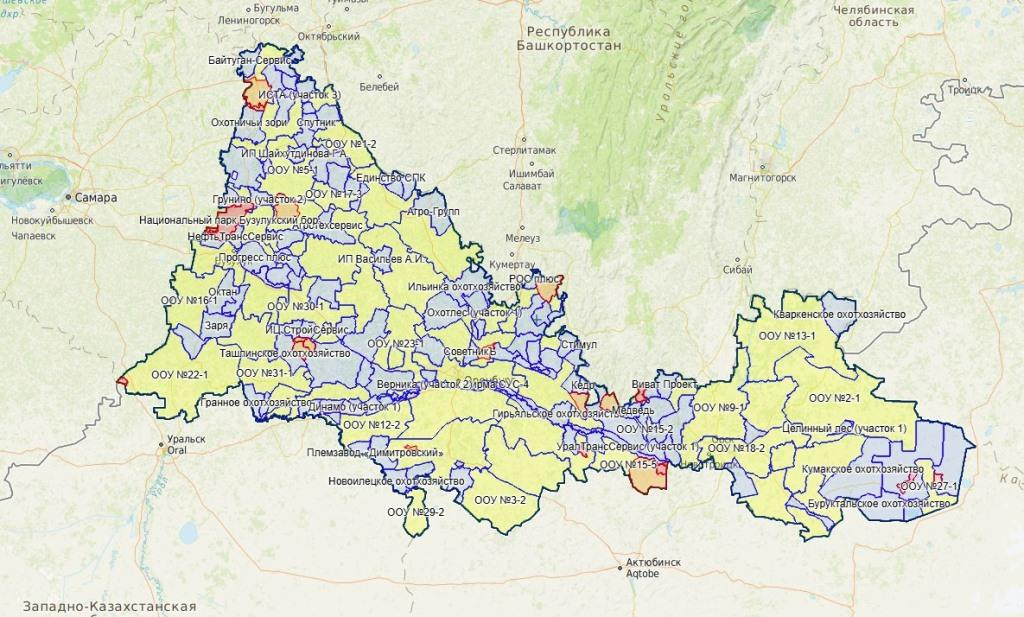 В проекте создана карта охотничьего хозяйства Оренбургской области