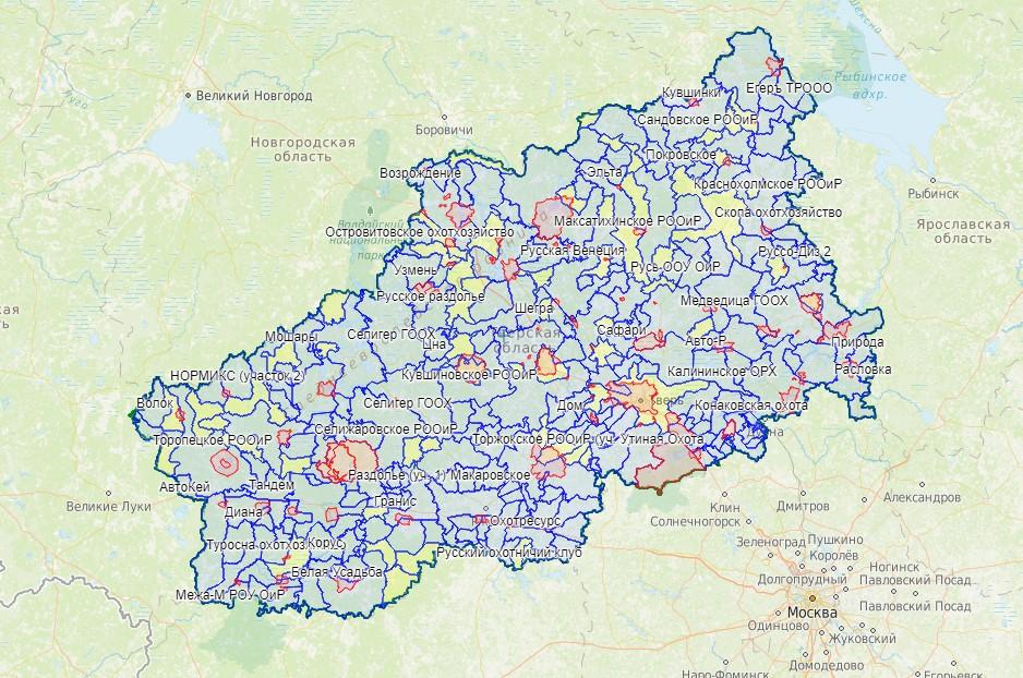 В проект включена карта охотничьих угодий Тверской области