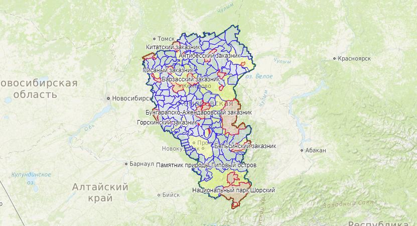 В проект добавлена карта охотничьих угодий Кемеровской области