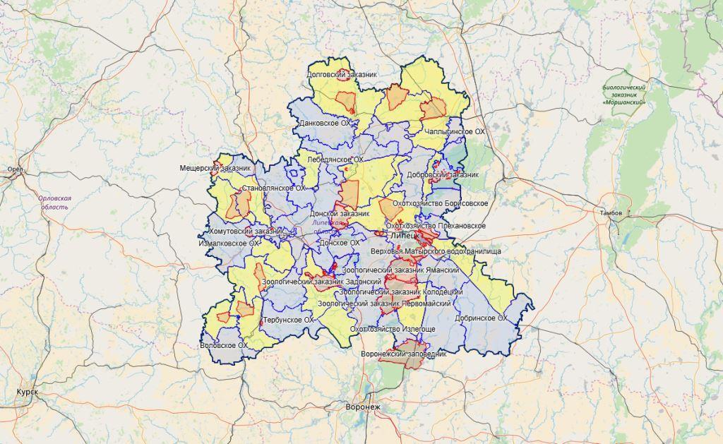 Карта охотника: добавлена Липецкая область