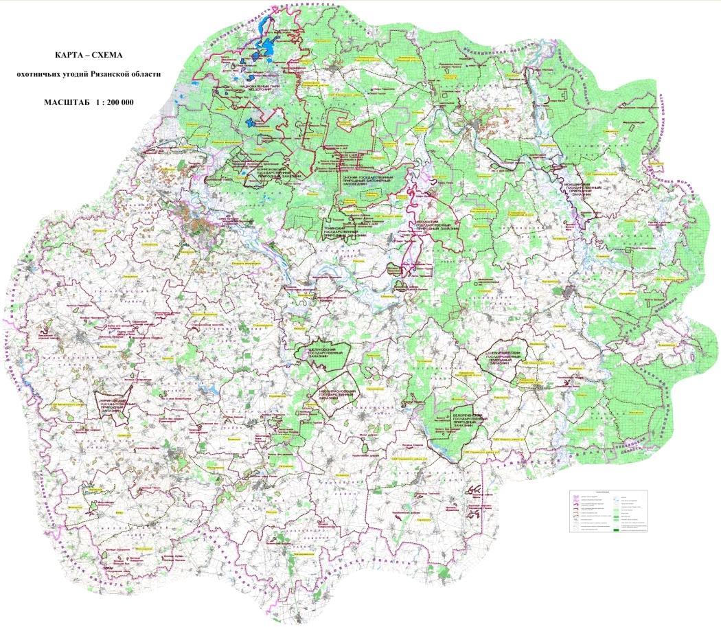 Схема охотустройства Рязанской области