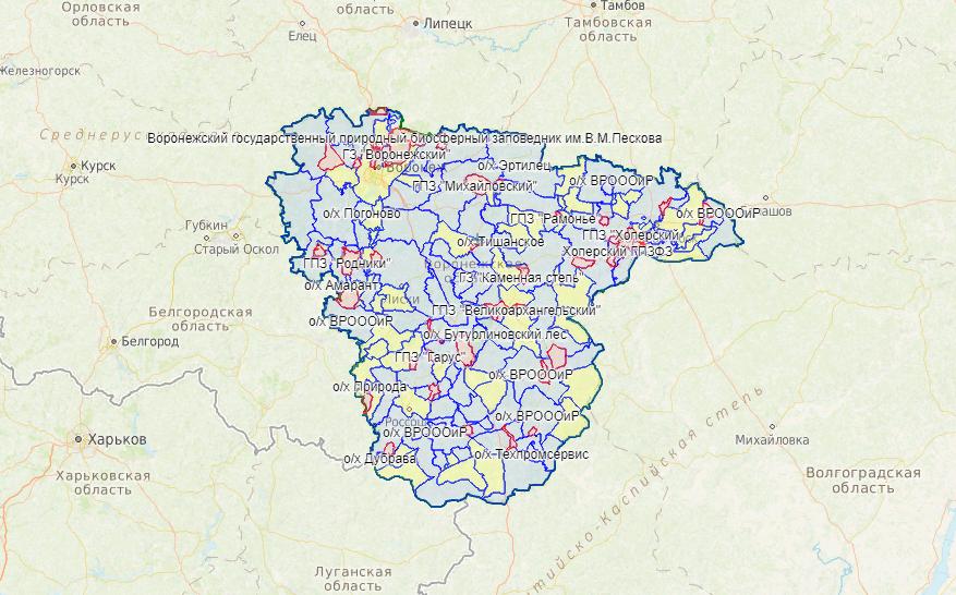 Карта охотника - Воронежская область - Карта охотника