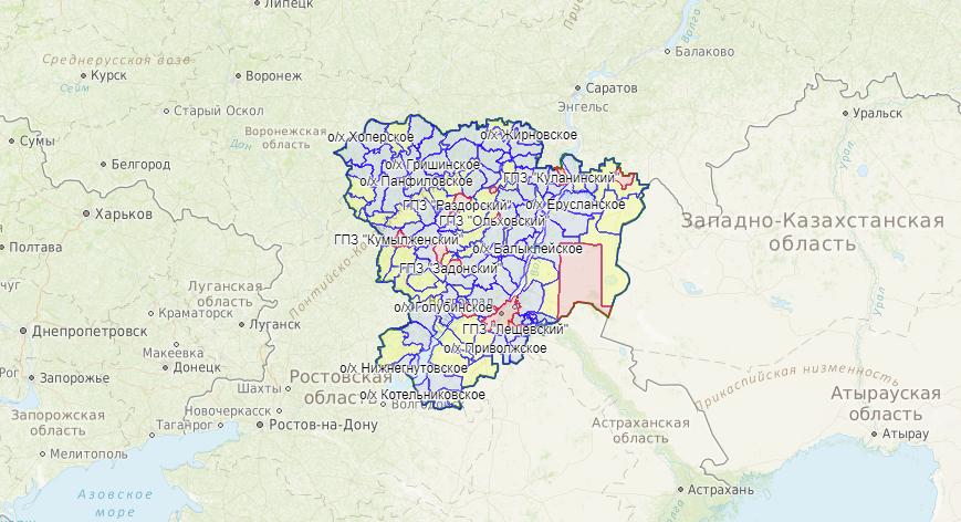 Карта охотника — Волгоградская область