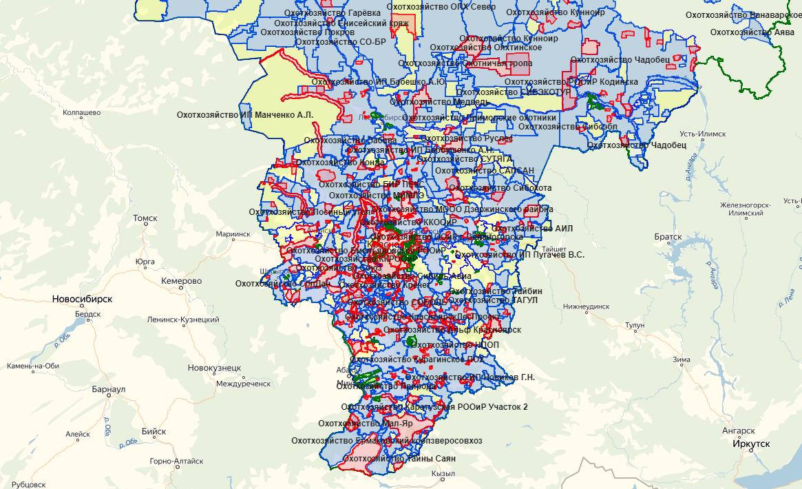 Карта охотника — Красноярский край