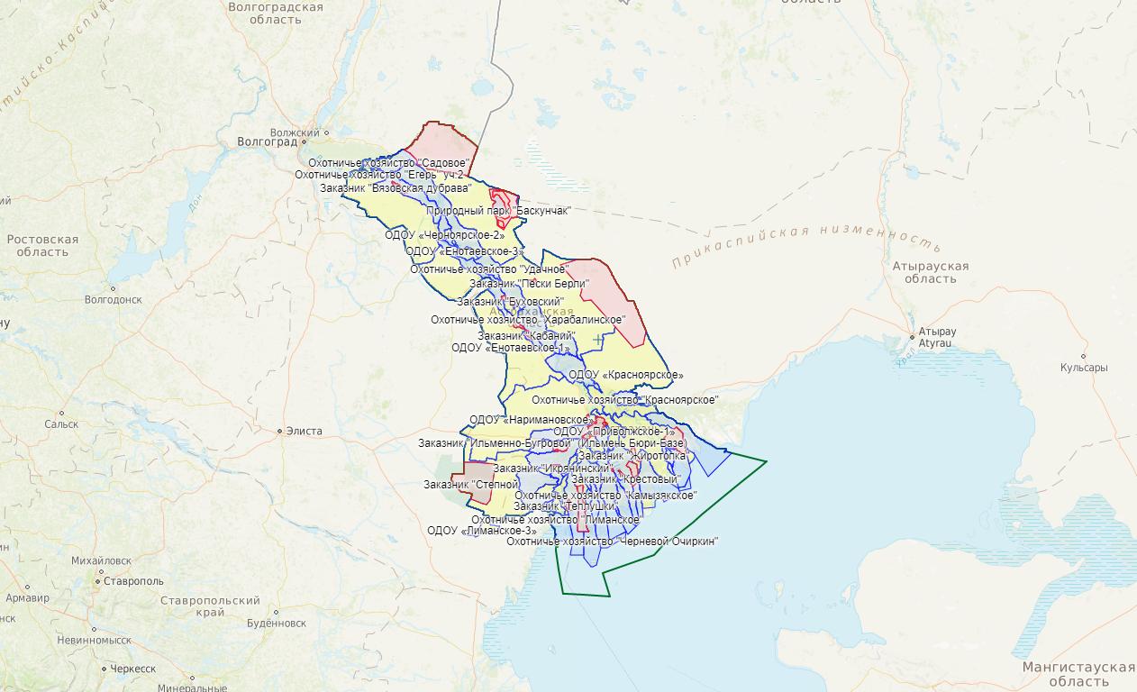 Карта охотника — Астраханская область