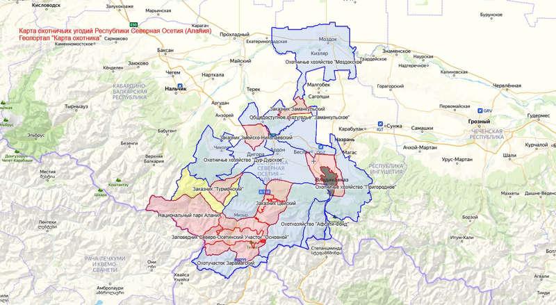 Карта охотника — Северная Осетия (Алания)