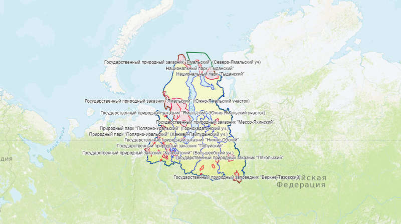 Карта охотника — Ямало-Ненецкий автономный округ